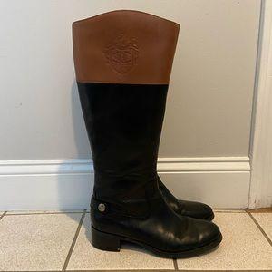 Etienne Aigner Black/Brown Riding Boots - size 8.5